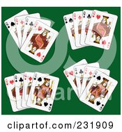 Royalty Free RF Clipart Illustration Of Queen Playing Cards On Green 3