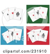 Royalty Free RF Clipart Illustration Of Aces On White Green Blue And Red
