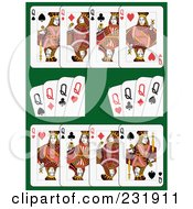 Royalty Free RF Clipart Illustration Of Queen Playing Cards On Green 1