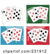 Royalty Free RF Clipart Illustration Of A Digital Collage Of Eight Playing Cards On White Green Blue And Red Backgrounds