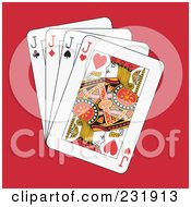 Royalty Free RF Clipart Illustration Of Four Jacks On Red