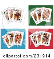 Royalty Free RF Clipart Illustration Of Queen Playing Cards On White Green Blue And Red