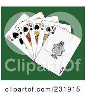 Royalty Free RF Clipart Illustration Of A Spade Royal Flush On Green