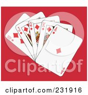Royalty Free RF Clipart Illustration Of A Diamond Royal Flush On Red