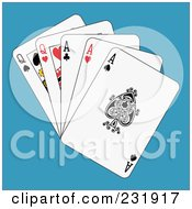 Royalty Free RF Clipart Illustration Of Full Aces And Queens On Blue