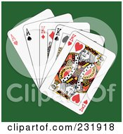 Royalty Free RF Clipart Illustration Of Full Kings And Aces On Green