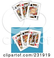 Royalty Free RF Clipart Illustration Of A Digital Collage Of Three King Playing Cards 1