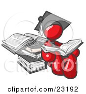 Clipart Illustration Of A Red Male Student In A Graduation Cap Reading A Book And Leaning Against A Stack Of Books