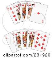 Royalty Free RF Clipart Illustration Of A Diamond Royal Flush