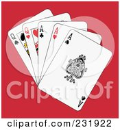 Royalty Free RF Clipart Illustration Of Full Aces And Queens On Red