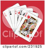 Royalty Free RF Clipart Illustration Of Full Kings And Aces On Red