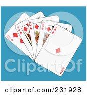 Royalty Free RF Clipart Illustration Of A Diamond Club Royal Flush On Blue