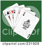 Royalty Free RF Clipart Illustration Of Full Aces And Jacks On Green