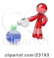 Red Man Using A Watering Can To Water New Grass Growing On Planet Earth Symbolizing Someone Caring For The Environment