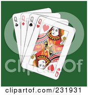 Royalty Free RF Clipart Illustration Of Four Queens On Green