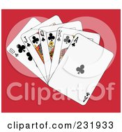 Royalty Free RF Clipart Illustration Of A Club Royal Flush On Red
