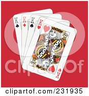 Royalty Free RF Clipart Illustration Of Four Kings On Red