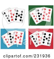 Royalty Free RF Clipart Illustration Of A Digital Collage Of Nine Playing Cards On White Green Blue And Red Backgrounds