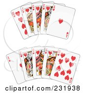 Royalty Free RF Clipart Illustration Of A Heart Royal Flush by Frisko