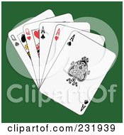 Royalty Free RF Clipart Illustration Of Full Aces And Queens On Green