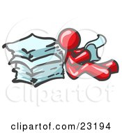 Clipart Illustration Of A Red Man Leaning Against A Stack Of Papers