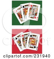 Royalty Free RF Clipart Illustration Of A Digital Collage Of Three King Playing Cards 2