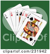 Royalty Free RF Clipart Illustration Of Full Jacks And Aces On Green
