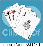 Royalty Free RF Clipart Illustration Of Full Aces And Kings On Blue