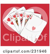 Royalty Free RF Clipart Illustration Of A Heart Royal Flush On Red by Frisko