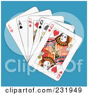 Royalty Free RF Clipart Illustration Of Full Queens And Aces On Blue
