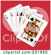 Royalty Free RF Clipart Illustration Of Full Jacks And Aces On Red