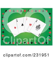 Royalty Free RF Clipart Illustration Of Four Aces On Green