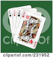 Royalty Free RF Clipart Illustration Of Four Kings On Green