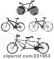 Royalty Free RF Clipart Illustration Of A Digital Collage Of Black And White Bicycles 2