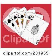 Royalty Free RF Clipart Illustration Of A Spade Royal Flush On Red
