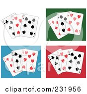Royalty Free RF Clipart Illustration Of A Digital Collage Of Seven Playing Cards On White Green Blue And Red Backgrounds
