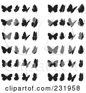 Royalty Free RF Clipart Illustration Of A Digital Collage Of Black And White Butterflies 1