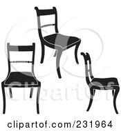 Royalty Free RF Clip Art Illustration Of A Digital Collage Of Black And White Chairs 2 by Frisko