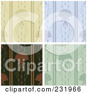 Digital Collage Of Beige Blue And Green Shell Pattern Backgrounds