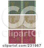 Digital Collage Of Green Taupe And Red Wallpaper Designs