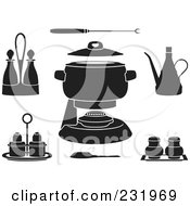 Royalty Free RF Clipart Illustration Of A Digital Collage Of Black And White Fondue Items