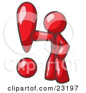Clipart Illustration Of A Red Businessman Standing By A Large Exclamation Point