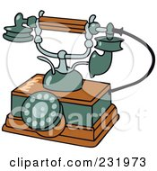 Royalty Free RF Clipart Illustration Of A Retro Wooden And Green Phone