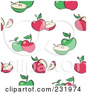 Seamless Green And Red Apple Background
