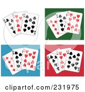 Royalty Free RF Clipart Illustration Of A Digital Collage Of Ten Playing Cards On White Green Blue And Red Backgrounds