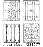 Royalty Free RF Clipart Illustration Of A Digital Collage Of Wrought Iron Designs 4 by Frisko