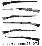 Royalty Free RF Clipart Illustration Of A Digital Collage Of Black And White Guns by Frisko