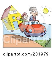 Royalty Free RF Clipart Illustration Of A Happy Boy In A Car With His Dad Driving Away From School