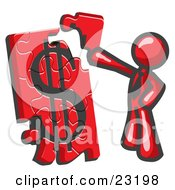 Red Businessman Putting A Dollar Sign Puzzle Together by Leo Blanchette