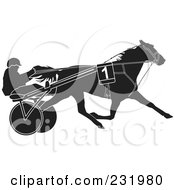 Royalty Free RF Clipart Illustration Of A Black And White Trotter Horse